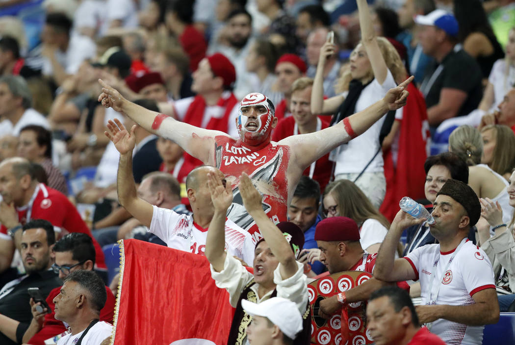 Tunisia supporters celebrate during the group G match between Tunisia and England at the 2018 soccer World Cup in the Volgograd Arena in Volgograd, Russia, Monday, June 18, 2018. (AP Photo/Frank A ...