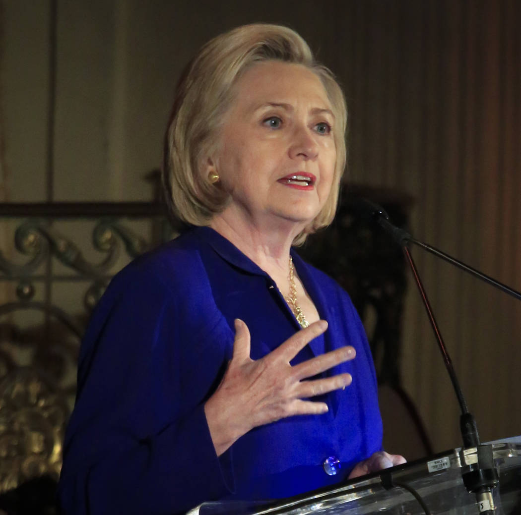 Hillary Clinton delivers the keynote address at the 8th Annual Elly Award luncheon, after being one three women receiving this year's award on Monday, June 18, 2018, in New York. Clinton on Monday ...