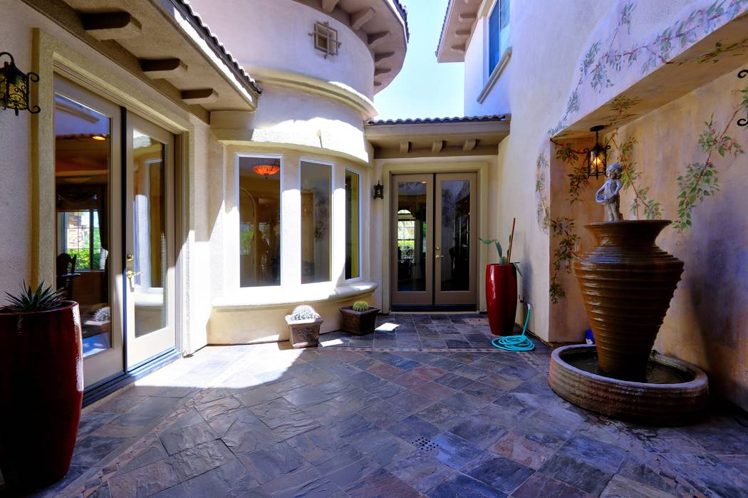 This Toll Brothers model home came with an open-air interior courtyard. (Lisa Paquette TourFactory)