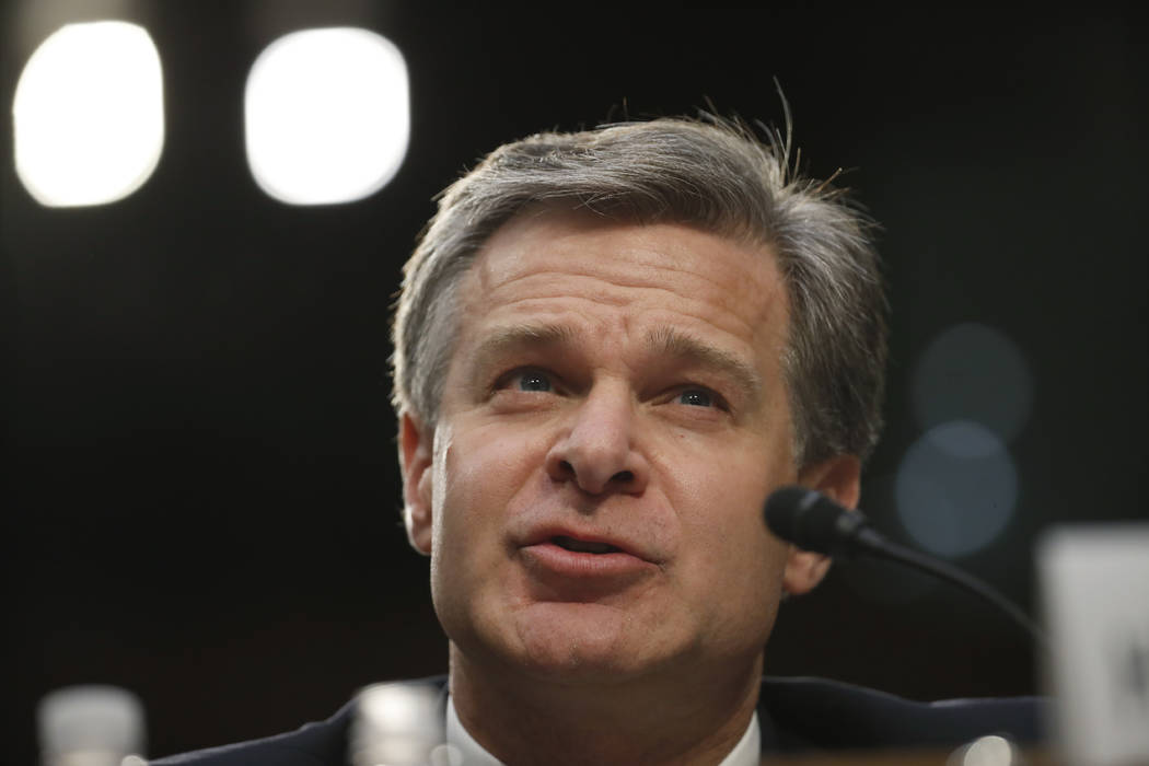 FBI Director Christopher Wray testifies during a hearing of the Senate Judiciary Committee to examine Horowitz's report of the FBI's Clinton email probe, on Capitol Hill, Monday, June 18, 2018 in ...