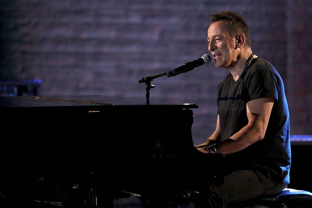 n this June 10, 2018, file photo, Bruce Springsteen performs at the 72nd annual Tony Awards at Radio City Music Hall in New York. Springsteen helped rock a refurbished 1960s bowling alley-turned m ...