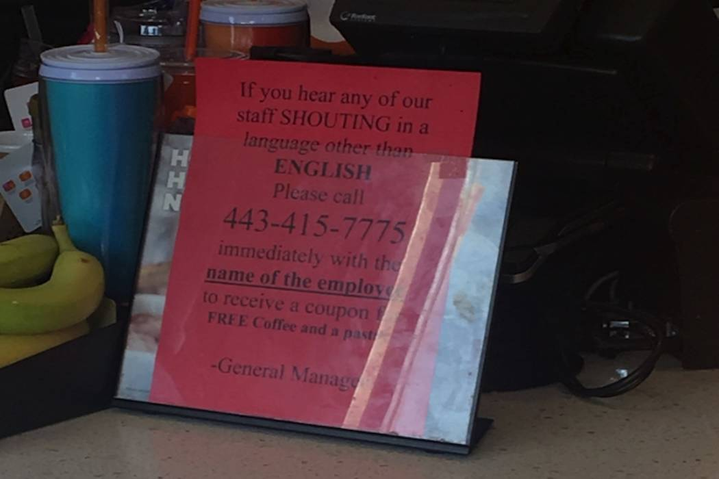 Baltimore Dunkin' Donuts asks customers to report non-English speaking employees