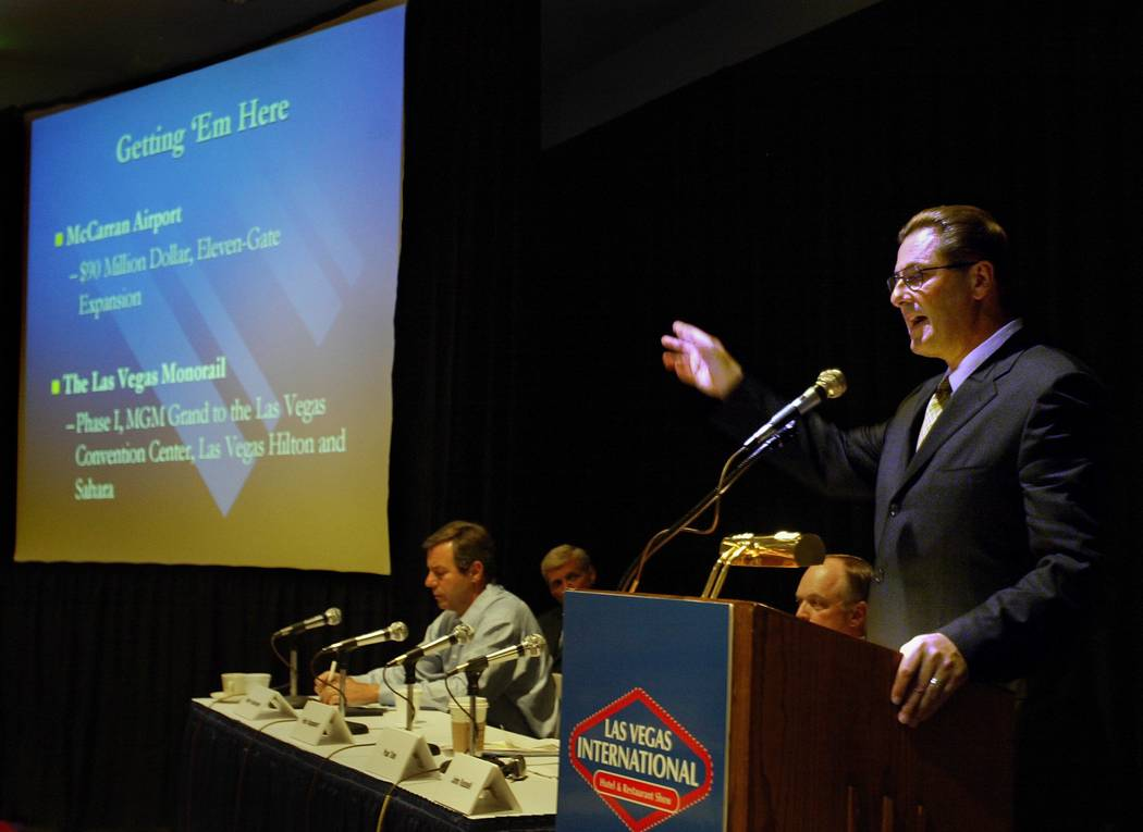 Felix Rappaport speaks on the opening day of the Las Vegas International Hotel and restaurant Show at the Las Vegas Convention Center in 2003. Rappaport, president and CEO of the Foxwoods tribal c ...