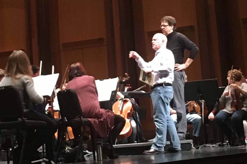 Composer Michael Torke and music director Donato Cabrera at a Las Vegas Philharmonic rehearsal at The Smith Center's Reynolds Hall.