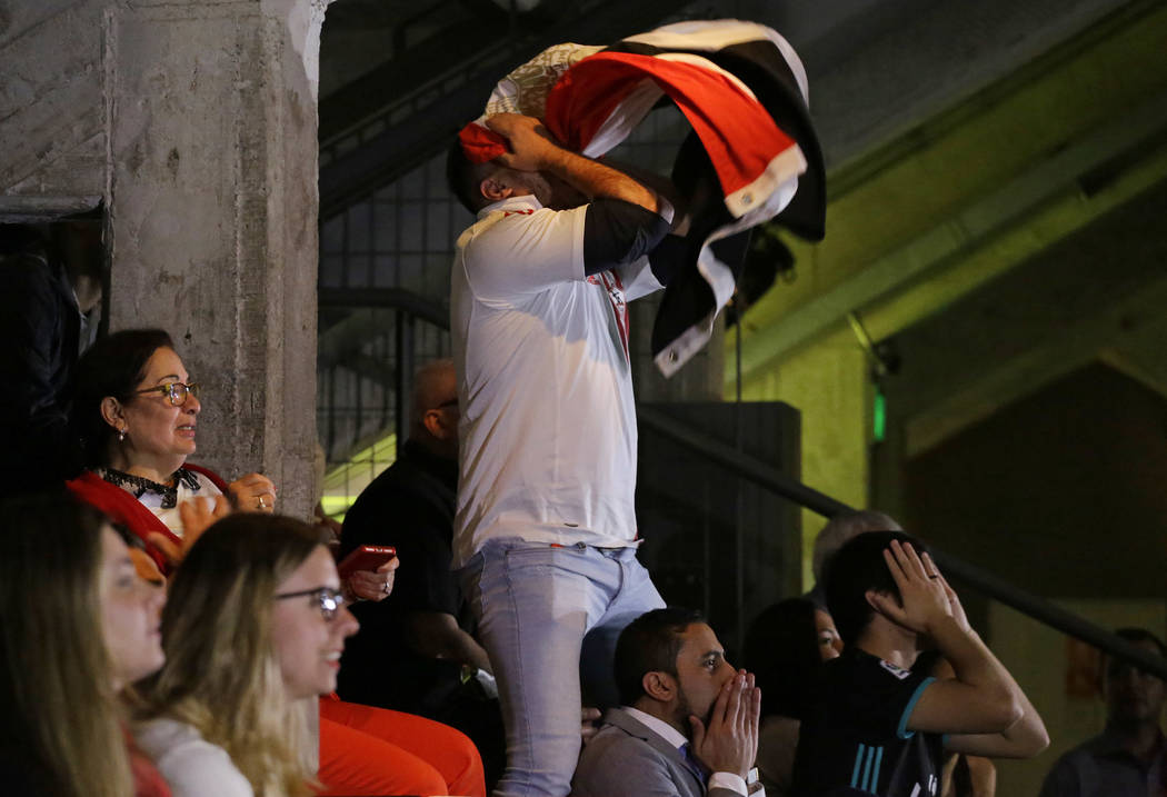 Egypt soccer fans react after Russia scored during the World Cup match between Russia and Egypt, in Sao Paulo, Brazil, Tuesday, June 19, 2018. Russia won the match 3-1. (AP Photo/Nelson Antoine)