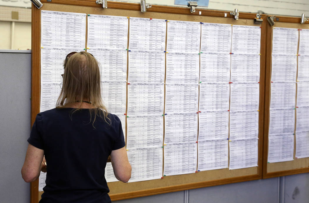 A job seeker looks at the job board at JobConnect office at 3405 S. Maryland Pkwy on Friday, April 6, 2018, in Las Vegas. Bizuayehu Tesfaye/Las Vegas Review-Journal @bizutesfaye