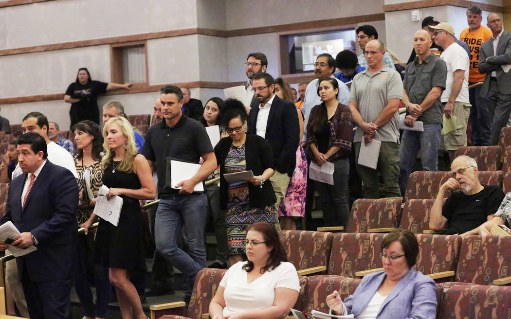 During meeting of the Clark County Commission on Tuesday, June 19, 2018 proponents and opponents line up to speak on a resolution seeking federal legislation to open almost 39,000 acres of public ...