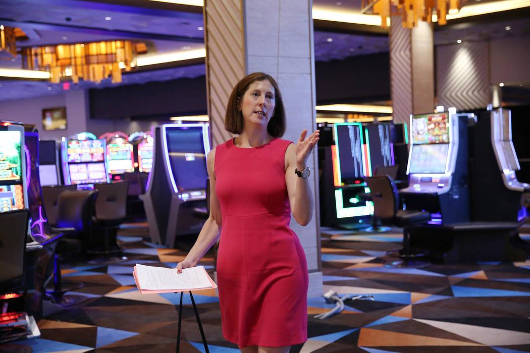 Palace Station spokeswoman Lori Nelson gives a tour of the hotel-casino's expansion in Las Vegas, Wednesday, June 20, 2018. (Erik Verduzco/Las Vegas Review-Journal) @Erik_Verduzco