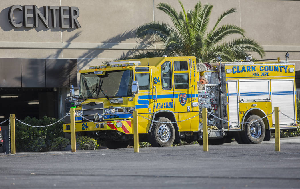 The Clark County Fire Department responds to a water main break in the loading dock area of the convention center at the Mandalay Bay hotel-casino on Tuesday, June 19, 2018, in Las Vegas. Benjami ...