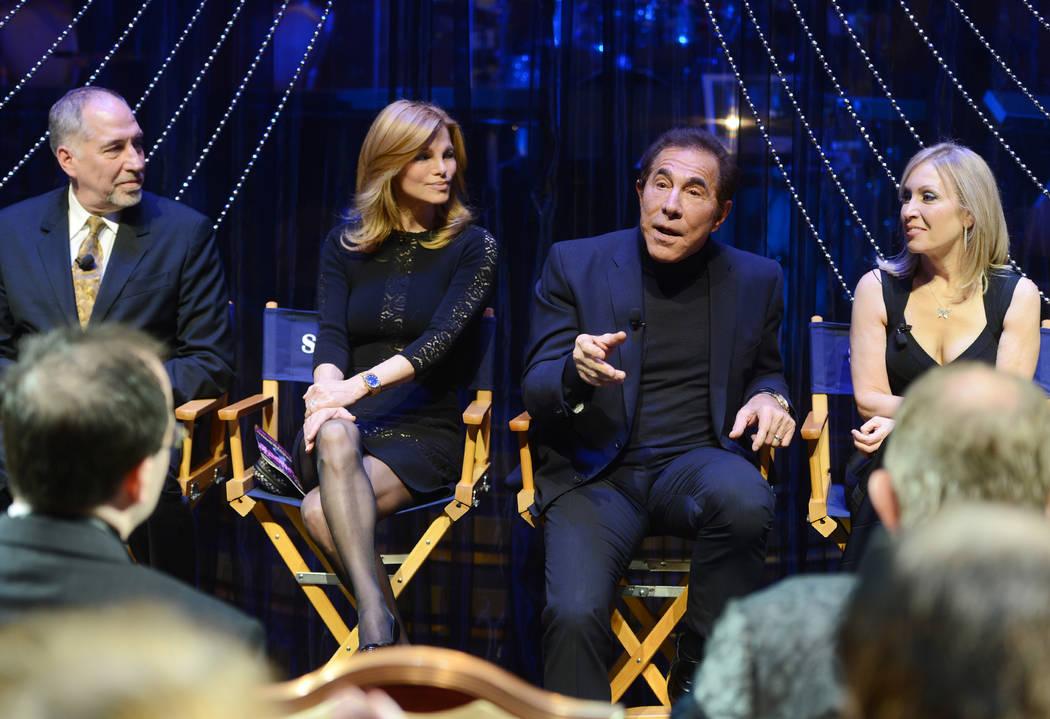"Philip Wm. McKinley, Andrea Wynn, Steve Wynn and choreographer Marguerite Derricks are shown at the premiere of ""Steve Wynn's Showstoppers"" on Dec. 20, 2014. (Wynn Las Vegas)"