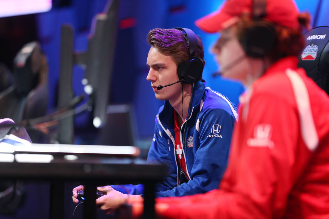 Erik Tammenpaa, left, competes in the NHL Gaming World Championship at Esports Arena inside the Luxor casino-hotel in Las Vegas, Tuesday, June 19, 2018. Erik Verduzco Las Vegas Review-Journal @Eri ...