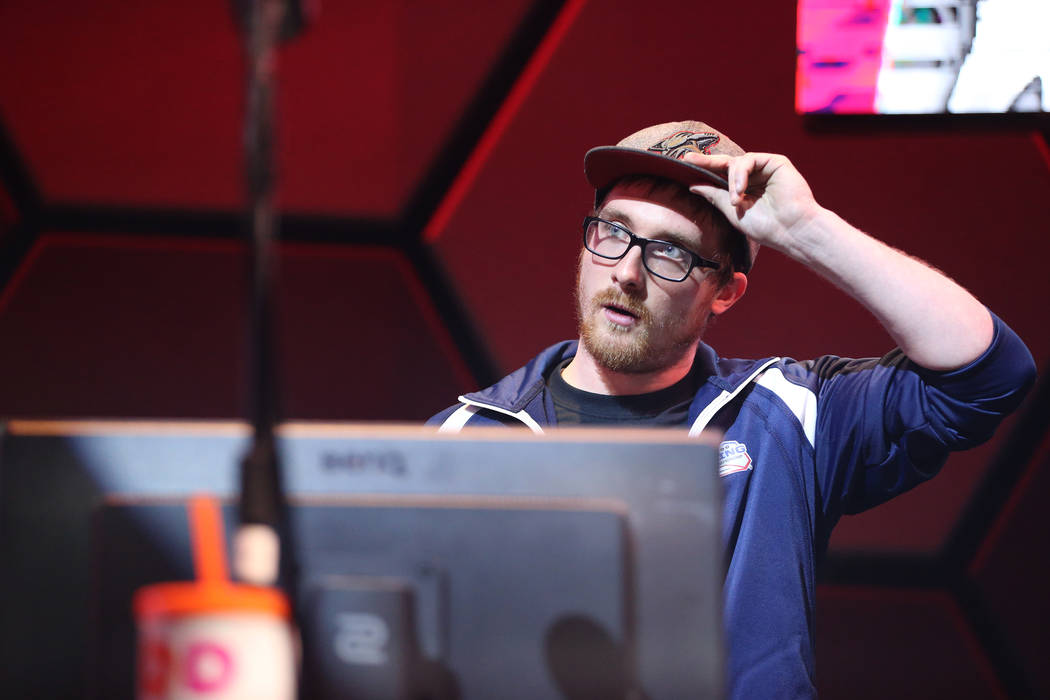 John Wayne Casagranda reacts after winning his game in the NHL Gaming World Championship at Esports Arena inside the Luxor casino-hotel in Las Vegas, Tuesday, June 19, 2018. Erik Verduzco Las Vega ...
