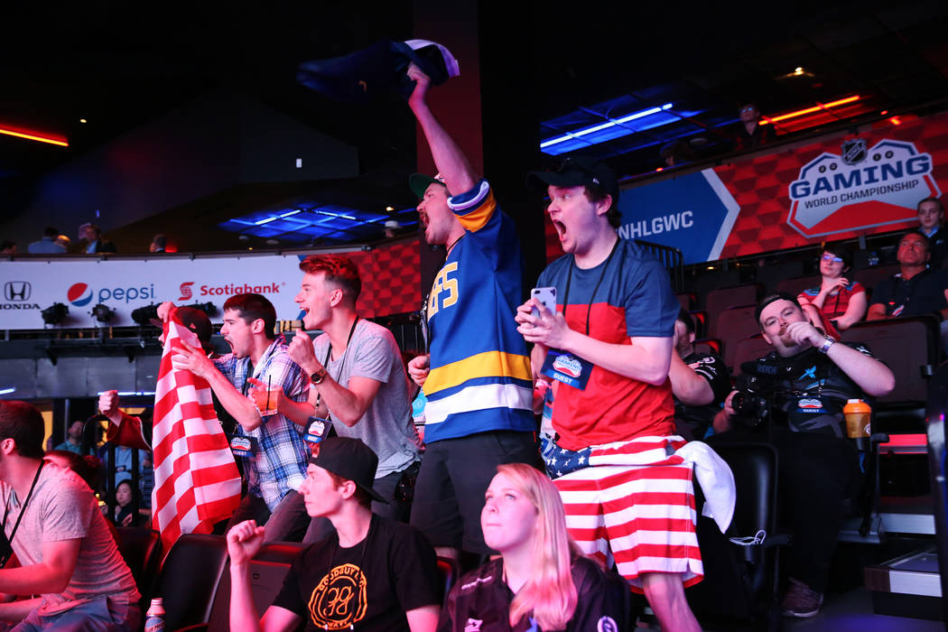 People watch a game in the NHL Gaming World Championship at Esports Arena inside the Luxor casino-hotel in Las Vegas, Tuesday, June 19, 2018. Erik Verduzco Las Vegas Review-Journal @Erik_Verduzco