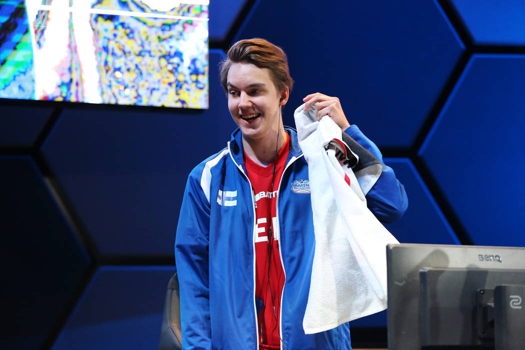 Erik Tammenpaa reacts after winning his game in the NHL Gaming World Championship at Esports Arena inside the Luxor casino-hotel in Las Vegas, Tuesday, June 19, 2018. Erik Verduzco Las Vegas Revie ...