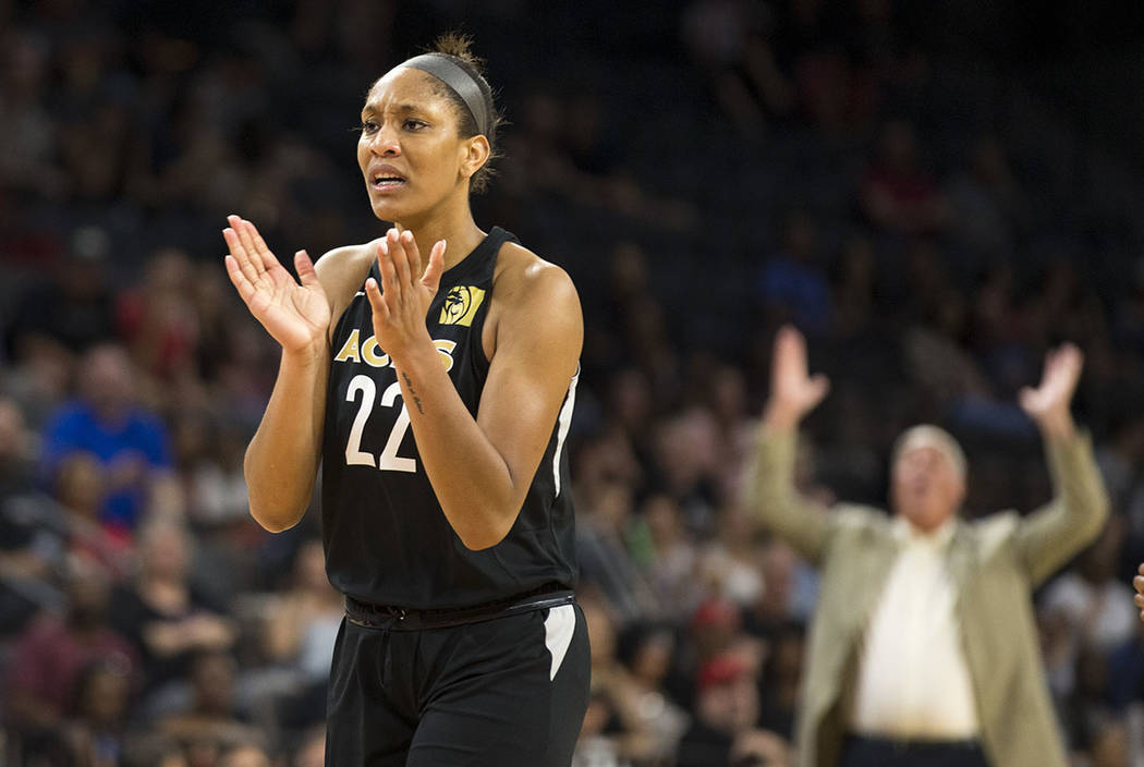 Las Vegas Aces center A'ja Wilson reacts to a play against the Washington Mystics in the first half of a WNBA basketball game at the Mandalay Bay Events Center in Las Vegas on Friday, June 1, 2018 ...