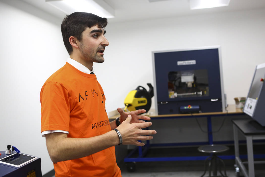 Matthew Viton, prototyping lab coordinator, gives a tour of the lab at the grand debut of the completed Innovation Center and lab at AFWERX Vegas in Las Vegas on Tuesday, June 19, 2018. Chase Stev ...