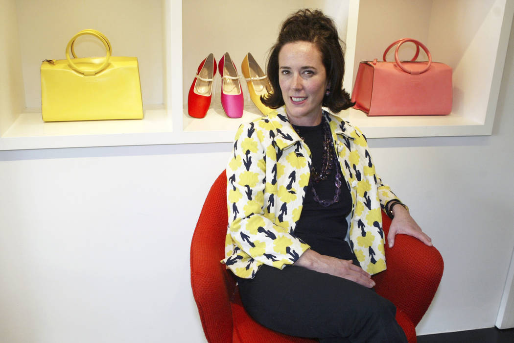 In this May 13, 2004, file photo, designer Kate Spade sits during an interview in New York. Kate Spade New York has announced plans to donate $1 million to support suicide prevention and mental he ...