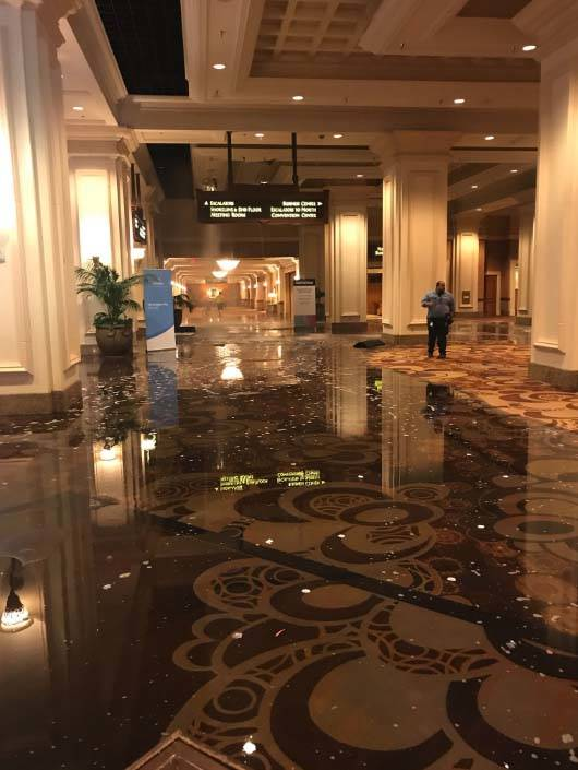 A water main break at Mandalay Bay on the Las Vegas Strip caused flooding in the resort's south convention center, Tuesday, June 19, 2018. (Twitter/Scott Zamost, @scottzamost)
