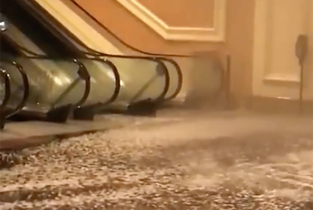 A water main break at Mandalay Bay on the Las Vegas Strip caused flooding in the resort's south convention center, Tuesday, June 19, 2018. (Melinda Cook)