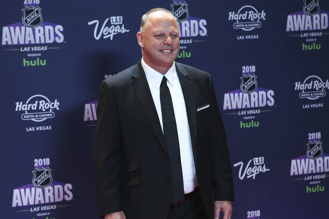 Golden Knights head coach Gerard Gallant poses on the red carpet ahead of the NHL Awards at the Hard Rock Hotel in Las Vegas on Wednesday, June 20, 2018. Chase Stevens Las Vegas Review-Journal @cs ...