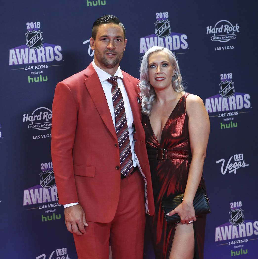Deryk Engelland of the Golden Knights, with his wife Melissa, poses on the red carpet ahead of the NHL Awards at the Hard Rock Hotel in Las Vegas on Wednesday, June 20, 2018. Chase Stevens Las Veg ...