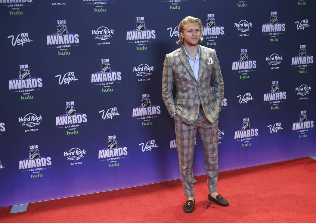William Karlsson of the Golden Knights poses on the red carpet ahead of the NHL Awards at the Hard Rock Hotel in Las Vegas on Wednesday, June 20, 2018. Chase Stevens Las Vegas Review-Journal @csst ...