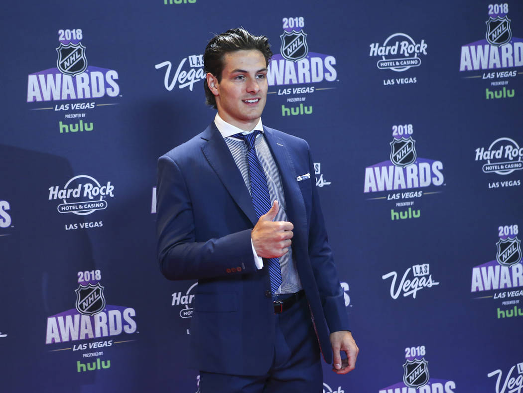 Mathew Barzal of the New York Islanders poses on the red carpet ahead of the NHL Awards at the Hard Rock Hotel in Las Vegas on Wednesday, June 20, 2018. Chase Stevens Las Vegas Review-Journal @css ...