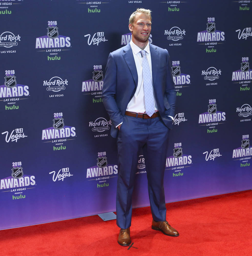 Jordan Staal of the Carolina Hurricanes poses on the red carpet ahead of the NHL Awards at the Hard Rock Hotel in Las Vegas on Wednesday, June 20, 2018. Chase Stevens Las Vegas Review-Journal @css ...