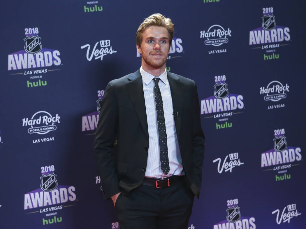 Connor McDavid of the Edmonton Oilers poses on the red carpet ahead of the NHL Awards at the Hard Rock Hotel in Las Vegas on Wednesday, June 20, 2018. Chase Stevens Las Vegas Review-Journal @csste ...