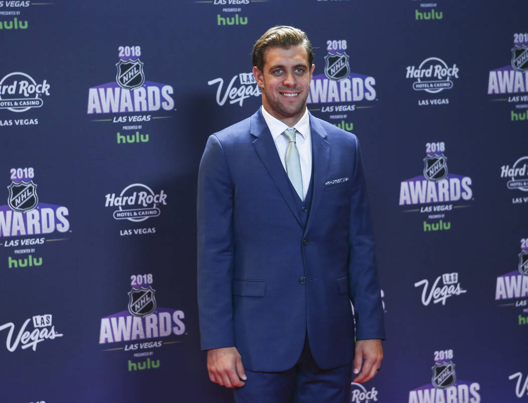 Anze Kopitar of the Los Angeles Kings poses on the red carpet ahead of the NHL Awards at the Hard Rock Hotel in Las Vegas on Wednesday, June 20, 2018. Chase Stevens Las Vegas Review-Journal @csste ...