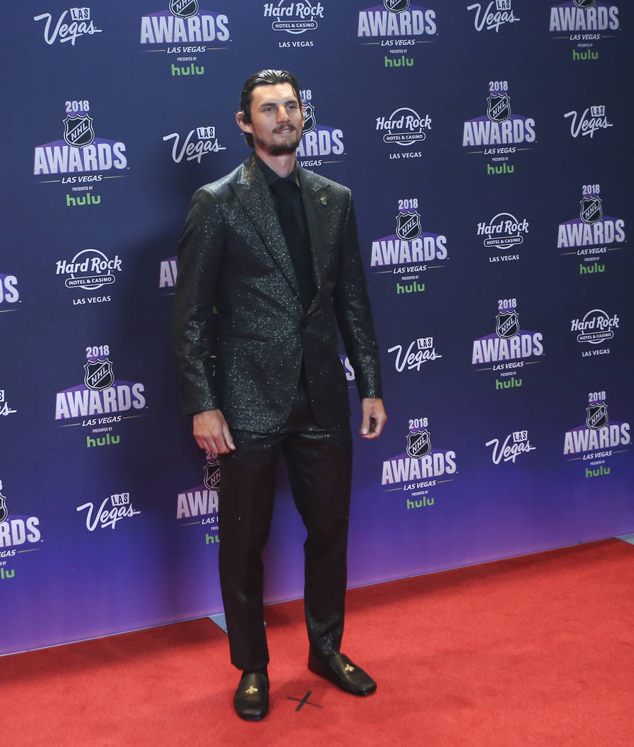 Connor Hellebuyck of the Winnipeg Jets poses on the red carpet ahead of the NHL Awards at the Hard Rock Hotel in Las Vegas on Wednesday, June 20, 2018. Chase Stevens Las Vegas Review-Journal @csst ...