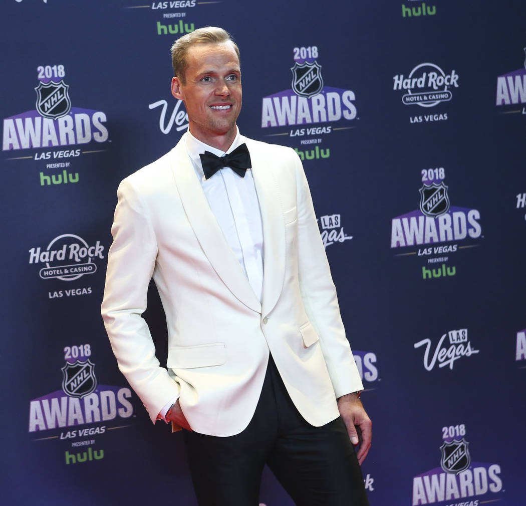 Pekka Rinne of the Nashville Predators poses on the red carpet ahead of the NHL Awards at the Hard Rock Hotel in Las Vegas on Wednesday, June 20, 2018. Chase Stevens Las Vegas Review-Journal @csst ...