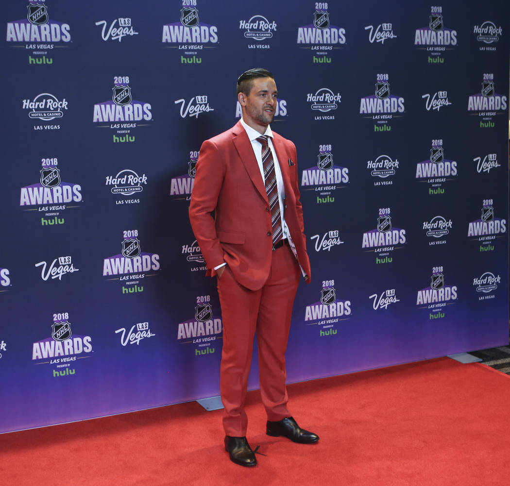 Deryk Engelland of the Golden Knights poses on the red carpet ahead of the NHL Awards at the Hard Rock Hotel in Las Vegas on Wednesday, June 20, 2018. Chase Stevens Las Vegas Review-Journal @csste ...