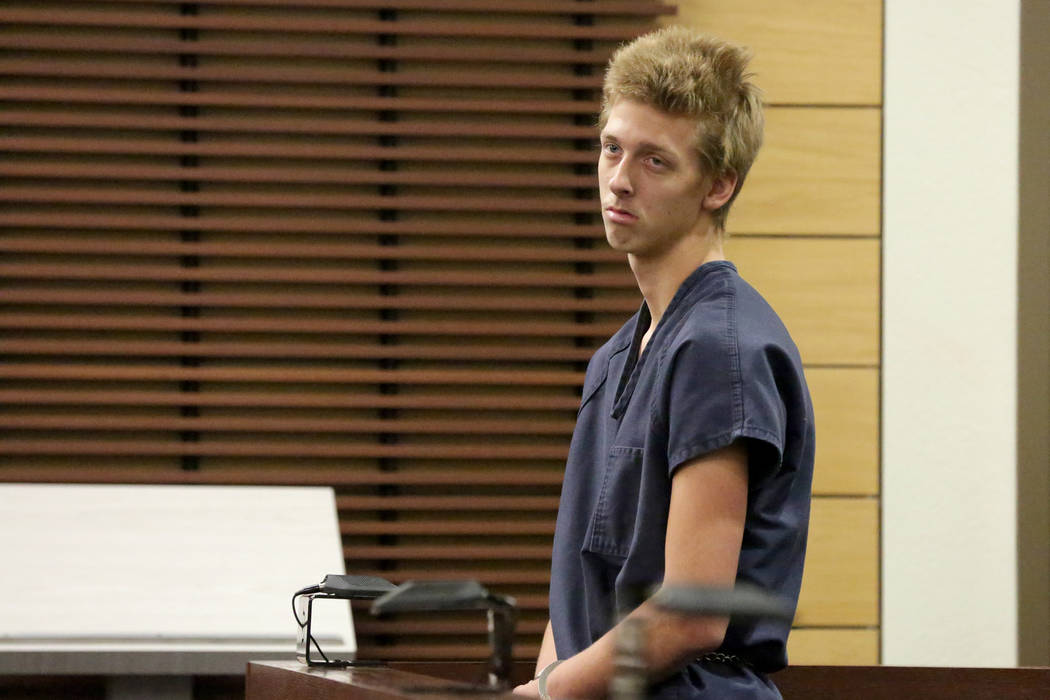 Kody Harlan, 17, one of several suspects in the homicide of Matthew Minkler, 17, who was found dead from a gunshot wound to the head, makes and appearance at Henderson Justice Court on Wednesday, ...