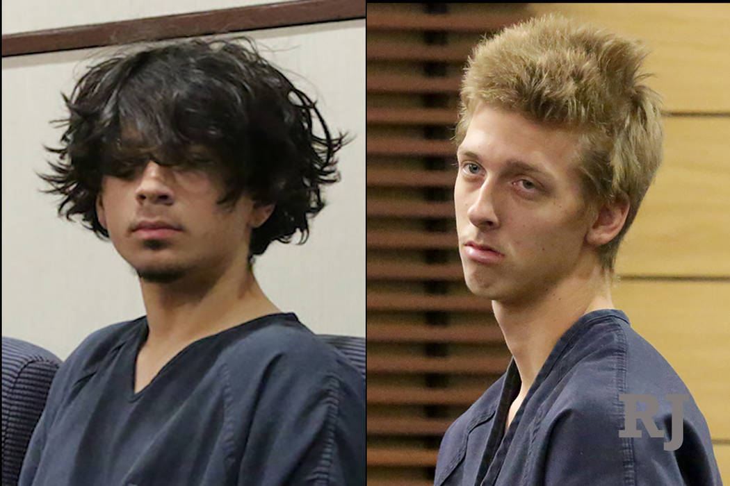 Jaiden Caruso, 16, left, and Kody Harlan, 17, right, appearance at Henderson Justice Court on Wednesday, June 20, 2018. Michael Quine Las Vegas Review-Journal @Vegas88s