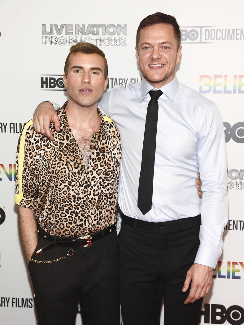 """Tyler Glenn, left, and Dan Reynolds attend the premiere of HBO Documentary Films' """"Believer"""" at Metrograph on Monday, June 18, 2018, in New York. (Photo by Andy Kropa/Invision/AP)"""