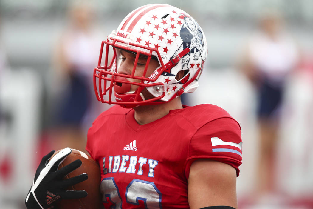 Liberty's Kyle Beaudry (32) scores a touchdown during a football game against Alta at Sam Boyd Stadium in Las Vegas on Saturday, Sept. 9, 2017. Liberty won 28-7. Chase Stevens Las Vegas Review-Jou ...