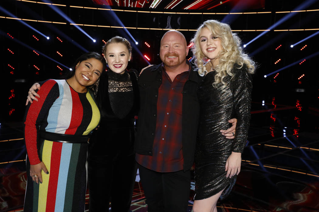 "From left, Brooke Simpson, Addison Agen, Red Marlow and Chloe Kohanski star in ""The Voice — Neon Dreams."" (Trae Patton/NBC)"