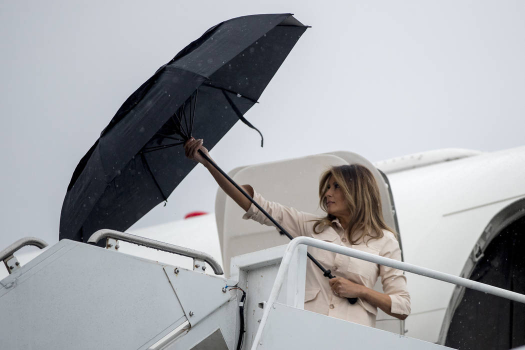 First lady Melania Trump arrives at McAllen Miller International Airport in McAllen, Texas, Thursday, June 21, 2018, to visit the Ursula Border Patrol Processing Center and the Upbring New Hope Ch ...