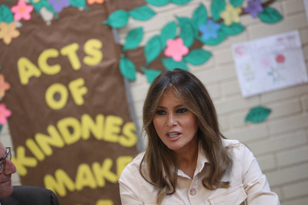 First lady Melania Trump visits the Upbring New Hope Children Center, run by the Lutheran Social Services of the South, in McAllen, Texas, Thursday, June 21, 2018. (Andrew Harnik/AP)