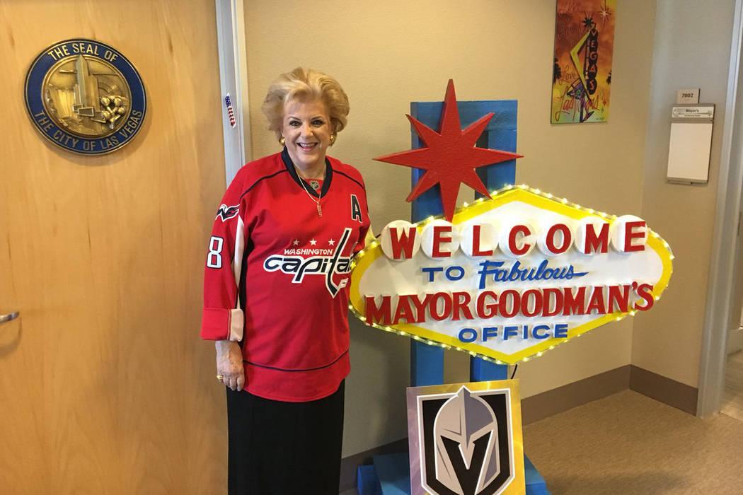 Las Vegas Mayor Carolyn Goodman is shown wearing a Washington Capitals Alex Ovechkin jersey at her office at City Hall on Wednesday, June 21, 2018. (Twitter/@mayoroflasvegas)