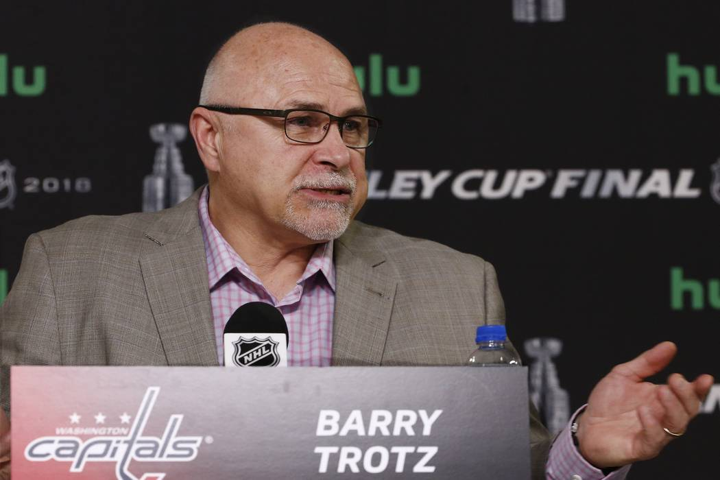 Former Washington Capitals head coach Barry Trotz answers a question during a news conference after hockey practice Tuesday, May 29, 2018, in Las Vegas. (AP Photo/Ross D. Franklin)