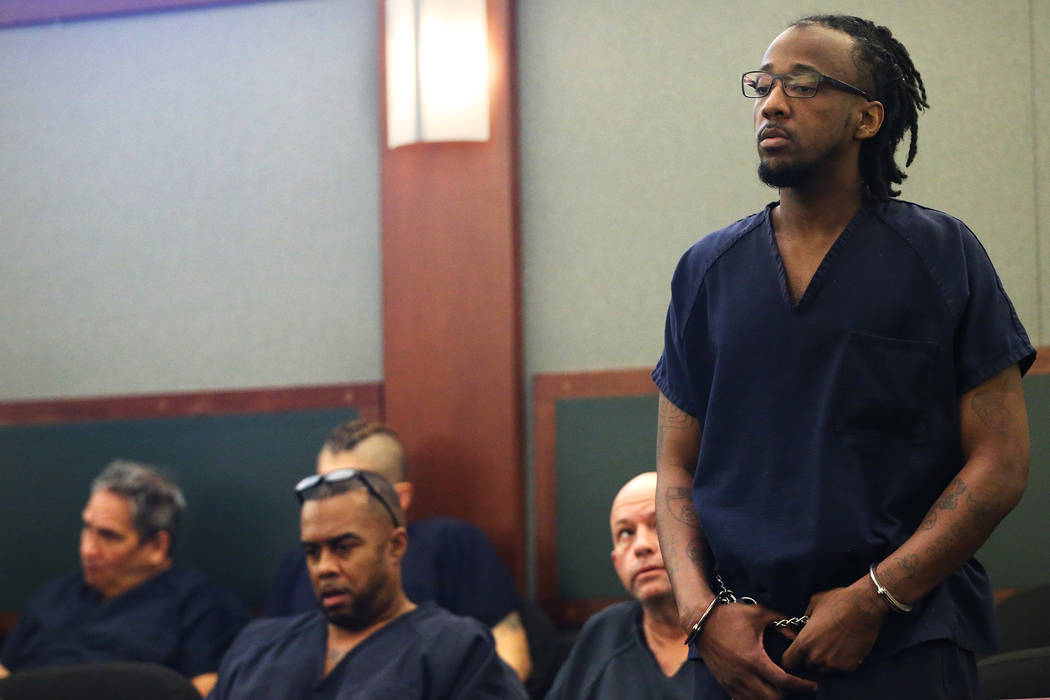 Steven Turner, who was convicted of attempted murder for his role in the shooting of a Metropolitan Police Department officer three years ago, during his sentencing hearing at the Regional Justice ...