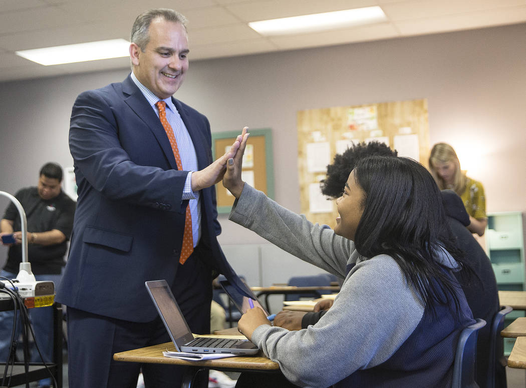 Clark County School District Superintendent Jesus F. Jara, left, greets Leeah Anderson during social studies class on a tour of Del Sol Academy of the Performing Arts on Thursday, June 21, 2018, i ...