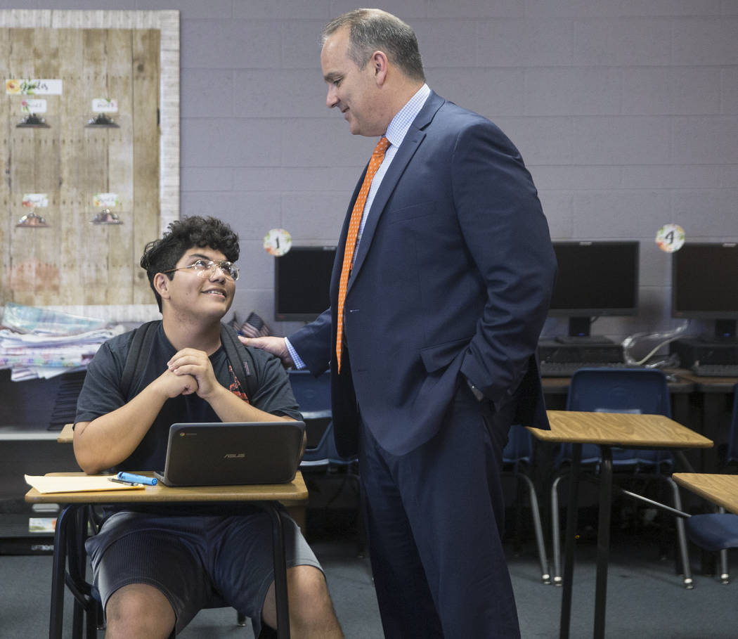 Clark County School District Superintendent Jesus F. Jara, right, speaks with senior Jose Milan during a tour of Del Sol Academy of the Performing Arts on Thursday, June 21, 2018, in Las Vegas. Be ...