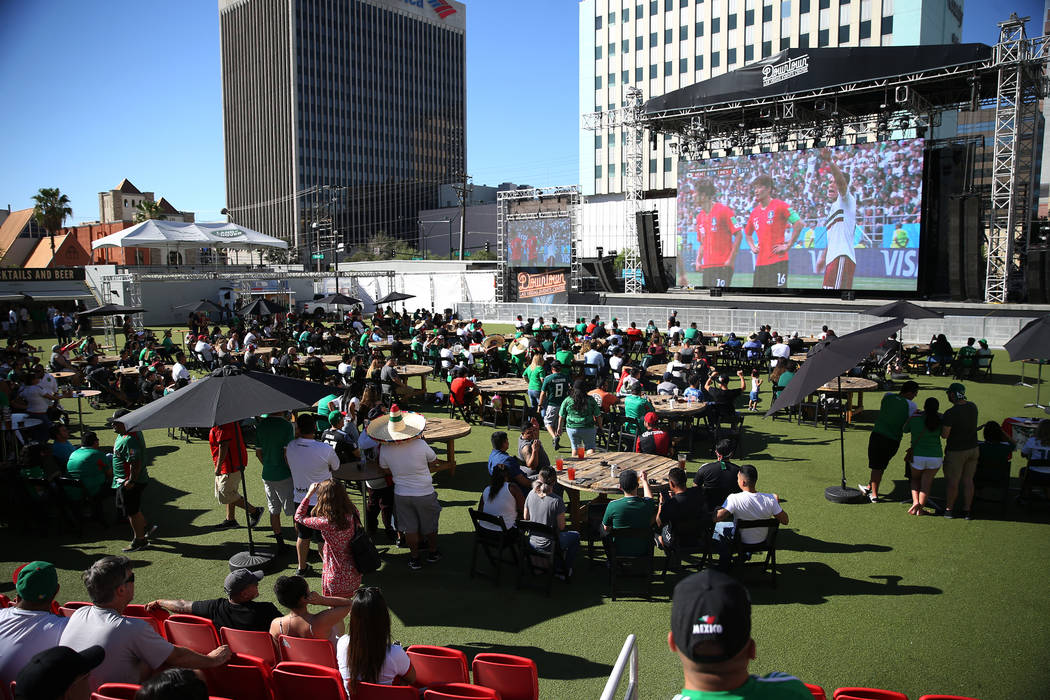 Fans attend a watch party for the World Cup soccer match between Mexico and South Korea at the Downtown Las Vegas Events Center in Las Vegas, Saturday, June 23, 2018. Erik Verduzco Las Vegas Revie ...