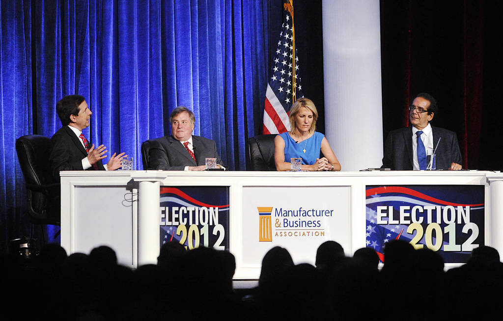 From left, moderator Chris Wallace kicks off a discussion with panelists Dick Morris, Laura Ingraham and Charles Krauthammer at the Manufacturer & Business Association's 107th annual event at the ...