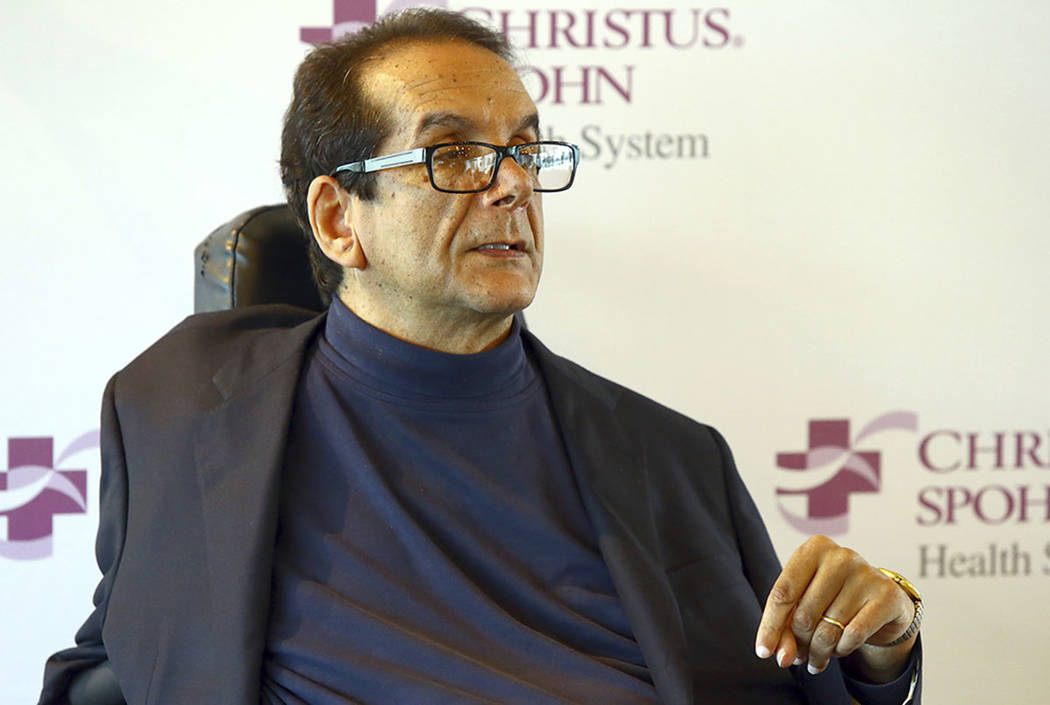 Charles Krauthammer talks about getting into politics during a news conference in Corpus Christi, Texas, in 2015. (Gabe Hernandez/Corpus Christi Caller-Times via AP)