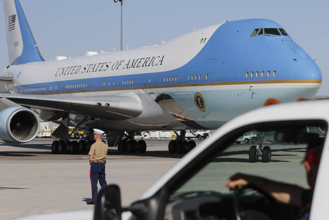 Air Force One arrives at McCarran International Airport in Las Vegas on Wednesday, Oct. 4, 2017. Chase Stevens Las Vegas Review-Journal @csstevensphoto