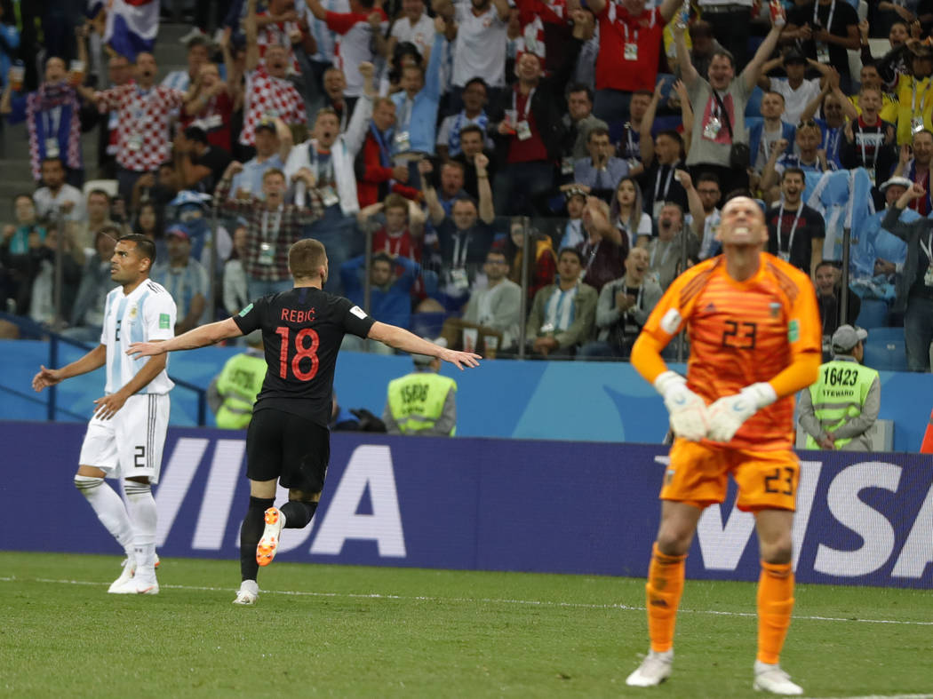 Croatia's Ante Rebic (180 celebrates scoring the opening goal during the group D match between Argentina and Croatia at the 2018 soccer World Cup in Nizhny Novgorod Stadium in Nizhny Novgorod, Rus ...